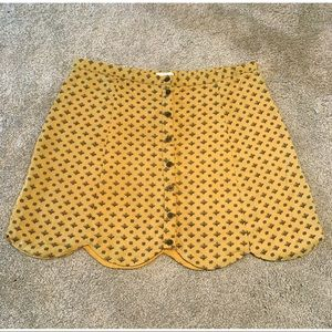 Scalloped Hem Mustard Yellow Skirt Urban Outfitter